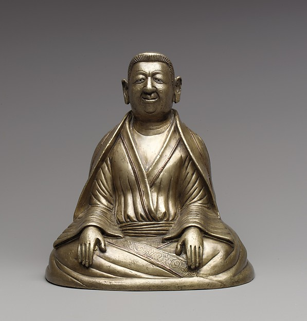 Portrait of The Great Teacher Marpa, Bronze inlaid with copper and silver; gold plugs, Tibet