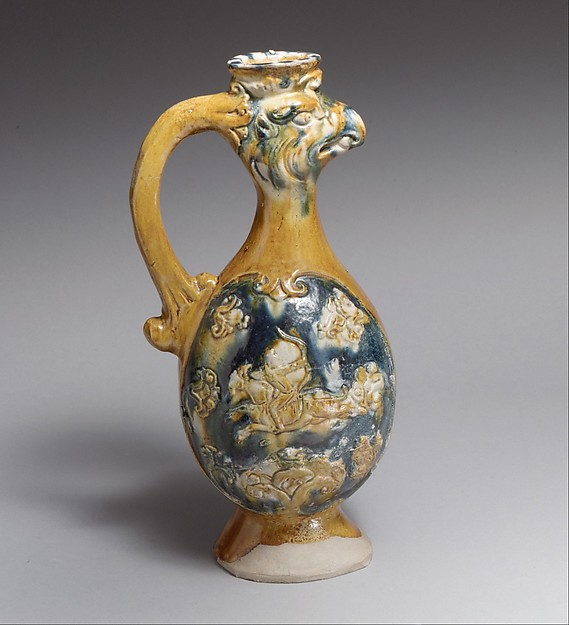 Pheonix-Headed Ewer, Earthenware with three-color (sancai) glaze, China