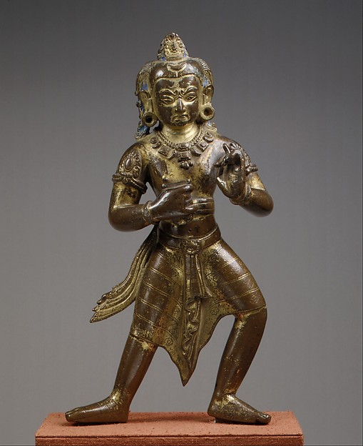 Manjushri, the Bodhisattva of Transcendent Wisdom, in an Awesome Aspect, Gilt-copper alloy with color and gold paint, Nepal (Kathmandu Valley)