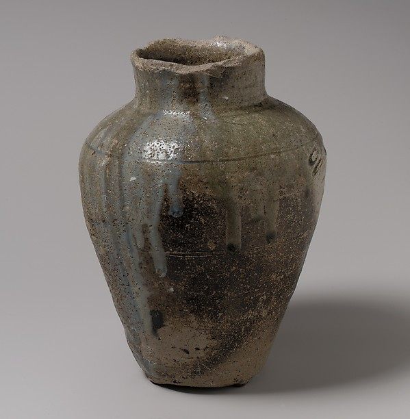 Jar for Sutra Burial, Stoneware with natural ash glaze (Tokoname ware), Japan