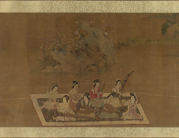 Lady Su Hui and Her Verse Puzzle, In the style of Qiu Ying (Chinese, ca. 1495–1552), Handscroll; ink and color on silk, China