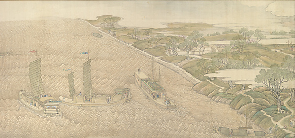 The Qianlong Emperor's Southern Inspection Tour, Scroll Four: The Confluence of the Huai and Yellow Rivers (Qianlong nanxun, juan si: Huang Huai jiaoliu), Xu Yang (Chinese, active ca. 1750–after 1776) and assistants, Handscroll; ink and color on silk, lacquer box, China