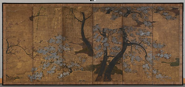 Cherry, Plum and Willow Trees, Unidentified Artist Japanese, 17th century, Single six-panel folding screen; ink, color, gofun (ground seashell pigment), gold, and gold leaf on paper, Japan
