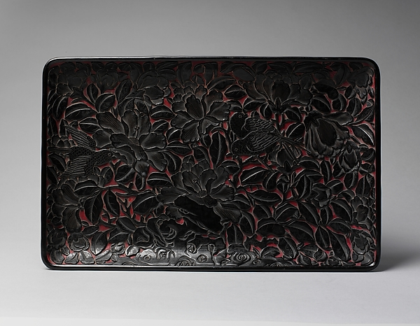 Rectangular tray with peonies and birds, Carved black lacquer, China