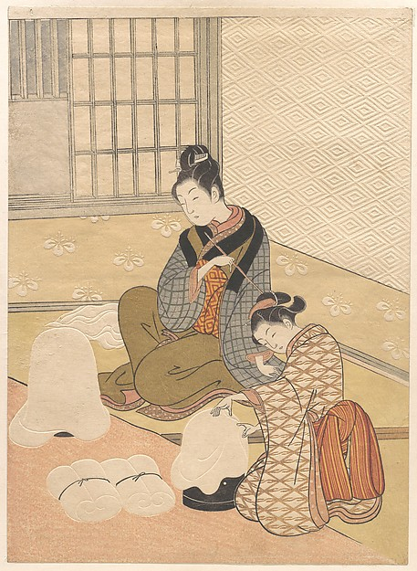 Evening Snow on the Heater, Suzuki Harunobu (Japanese, 1725–1770), Polychrome woodblock print with embossing (karazuri), ink and color on paper, Japan