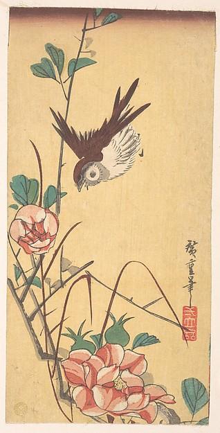 Roses and Sparrow, Utagawa Hiroshige (Japanese, Tokyo (Edo) 1797–1858 Tokyo (Edo)), Polychrome woodblock print; ink and color on paper, Japan