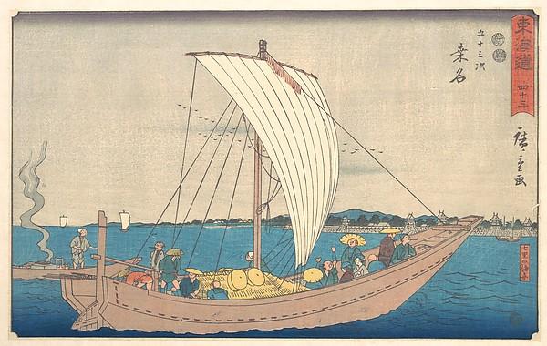 Kuwana, Utagawa Hiroshige (Japanese, Tokyo (Edo) 1797–1858 Tokyo (Edo)), Polychrome woodblock print; ink and color on paper, Japan