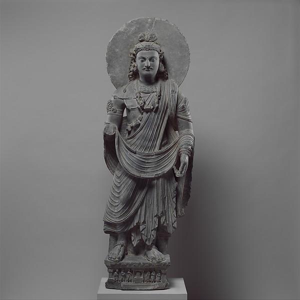 Standing Bodhisattva Maitreya (Buddha of the Future), Gray schist, Pakistan (ancient region of Gandhara)