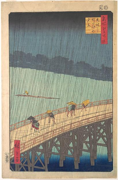 Sudden Shower over Shin-Ōhashi Bridge and Atake (Ōhashi Atake no yūdachi), from the series One Hundred Famous Views of Edo (Meisho Edo hyakkei), Utagawa Hiroshige (Japanese, Tokyo (Edo) 1797–1858 Tokyo (Edo)), Polychrome woodblock print; ink and color on paper, Japan