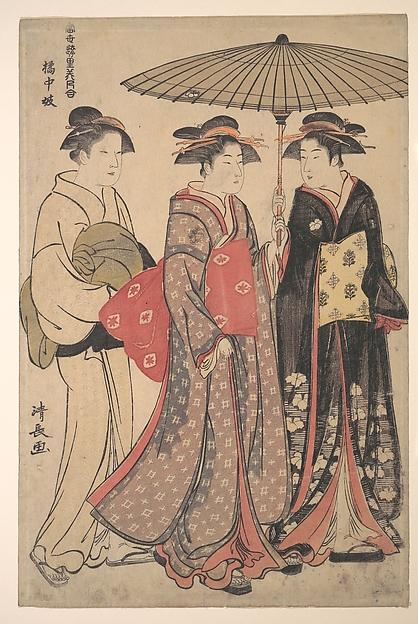 Dancers of Tachibana Street, Torii Kiyonaga (Japanese, 1752–1815), Polychrome woodblock print; ink and color on paper, Japan