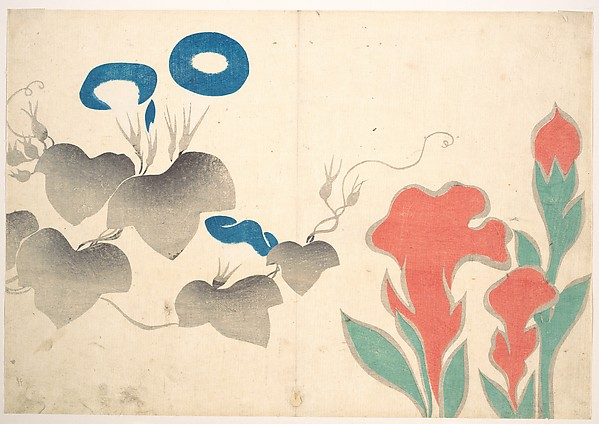Design of Morning–glory and Other Flowers, Ogata Kōrin (Japanese, 1658–1716), Polychrome woodblock print (album leaf); ink and color on paper, Japan