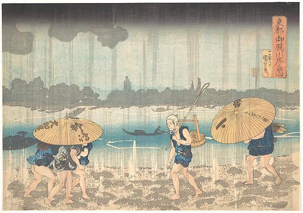 Onmayagashi in Edo, Utagawa Kuniyoshi (Japanese, 1797–1861), Polychrome woodblock print; ink and color on paper, Japan
