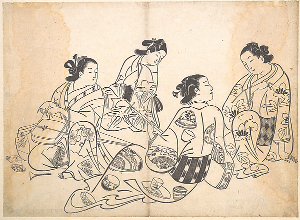 Group of Four Women, Okumura Masanobu (Japanese, 1686–1764), Polychrome woodblock print; ink and color on paper, Japan