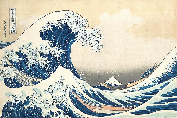Under the Wave off Kanagawa (Kanagawa oki nami ura), also known as The Great Wave, from the series Thirty-six Views of Mount Fuji (Fugaku sanjūrokkei), Katsushika Hokusai (Japanese, Tokyo (Edo) 1760–1849 Tokyo (Edo)), Polychrome woodblock print; ink and color on paper, Japan