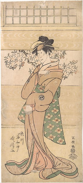 Actor Segawa Tomisaburo II as the Geisha Asaka, Tōshūsai Sharaku (Japanese, active 1794–95), One sheet of a pentaptych of polychrome woodblock prints; ink and color on paper, Japan