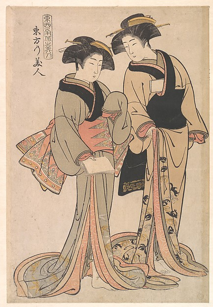 Beauties of the East, Kitao Shigemasa (Japanese, 1739–1820), Polychrome woodblock print; ink and color on paper, Japan