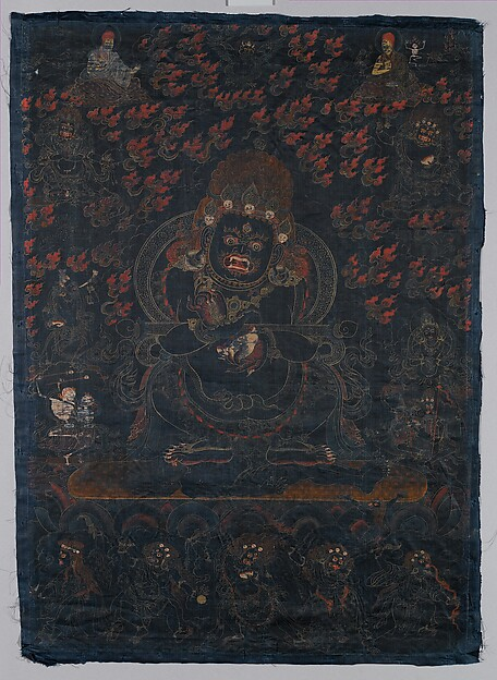 Mahakala, Protector of the Tent, Distemper and gold on blue silk, Tibet