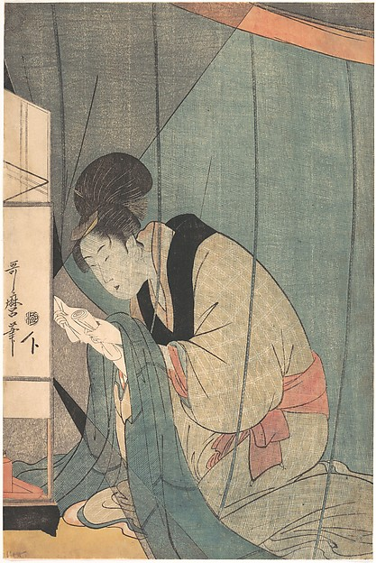 Woman Reading a Letter under a Mosquito Net, Kitagawa Utamaro (Japanese, ca. 1754–1806), Polychrome woodblock print; ink and color on paper, Japan