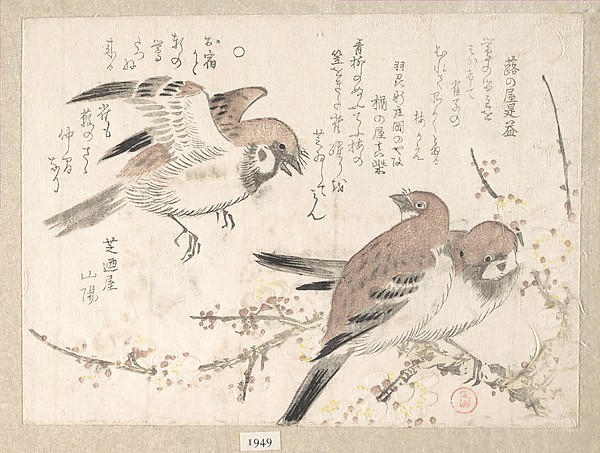 Sparrows and Plum Blossoms, Kubo Shunman (Japanese, 1757–1820), Polychrome woodblock print (surimono); ink and color on paper, Japan