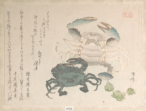Spring Rain Collection (Harusame shū), vol. 1: Crabs and Lotus Blossoms, Ryūryūkyo Shinsai (Japanese, active ca. 1799–1823), Privately published woodblock prints (surimono) mounted in an album; ink and color on paper, Japan