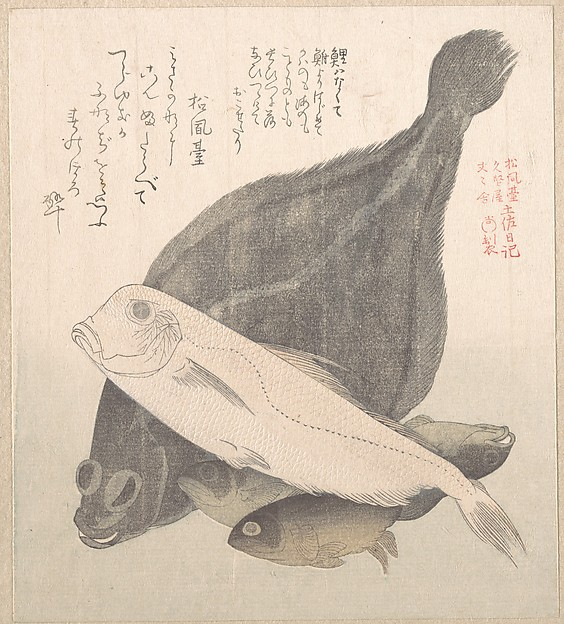 Flounder and Other Fishes, Kubo Shunman (Japanese, 1757–1820) (?), Polychrome woodblock print (surimono); ink and color on paper, Japan