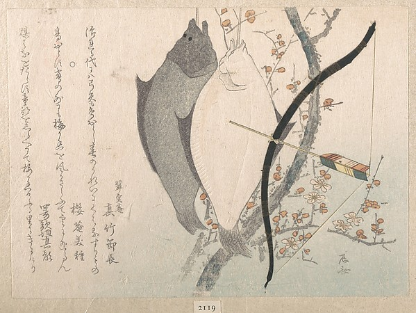 Halibuts and a Bow with Arrow Hanging on a Plum Tree, Ryūryūkyo Shinsai (Japanese, active ca. 1799–1823), Polychrome woodblock print (surimono); ink and color on paper, Japan