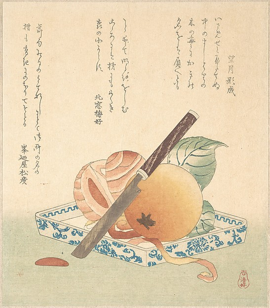 Persimmons on a Plate, Kubo Shunman (Japanese, 1757–1820), Polychrome woodblock print (surimono); ink and color on paper, Japan