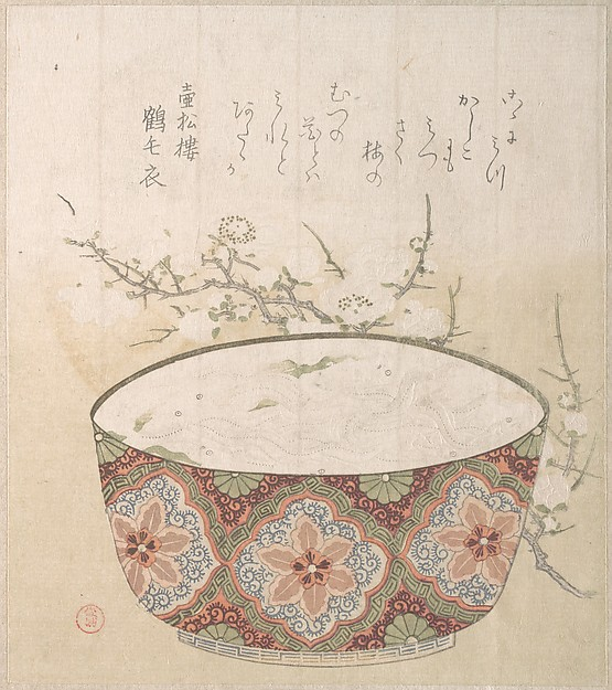Bowl with White-Baits and Plum Blossoms, Kubo Shunman (Japanese, 1757–1820), Polychrome woodblock print (surimono); ink and color on paper, Japan