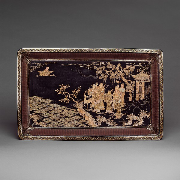 Tray with Daoist Figures, Black lacquer with mother-of-pearl inlay; basketry sides, China