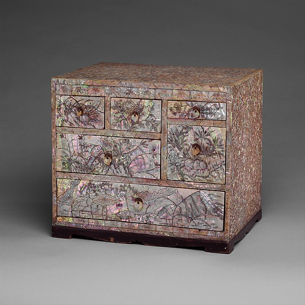 Small Chest of Drawers with Decoration of Flowers, Birds, and Insects, Lacquer inlaid with mother-of-pearl, with incised design, Korea