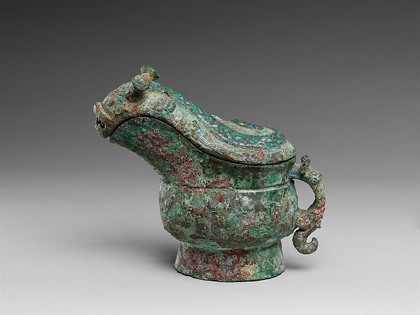 Spouted Wine Vessel (Gong), Bronze inlaid with turquoise, China