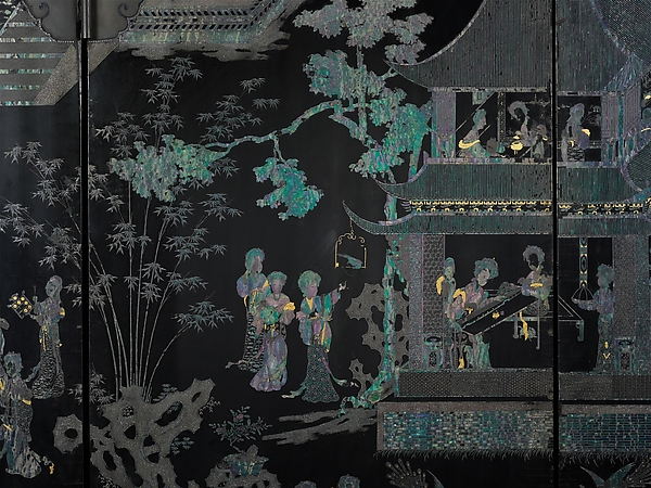 Women in a Palace, Black lacquer with mother-of-pearl and gold-foil inlay, China
