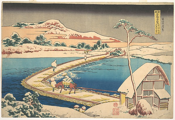 Old View of the Boat-bridge at Sano in Kōzuke Province (Kōzuke Sano funabashi no kozu), from the series Remarkable Views of Bridges in Various Provinces (Shokoku meikyō kiran), Katsushika Hokusai (Japanese, Tokyo (Edo) 1760–1849 Tokyo (Edo)), Polychrome woodblock print; ink and color on paper, Japan