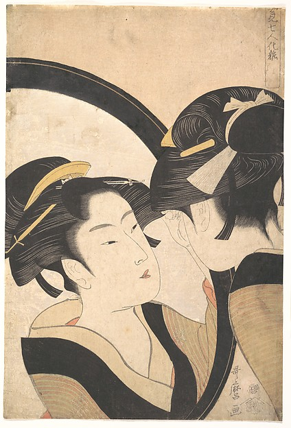 Naniwa Okita Admiring Herself in a Mirror, Kitagawa Utamaro (Japanese, ca. 1754–1806), Polychrome woodblock print; ink and color on paper, mica ground, Japan