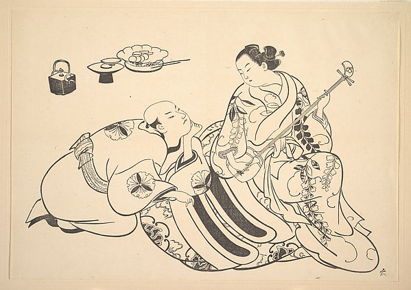 An Oiran Playing the Shamisen to a Young Man Kneeling by Her Side in Rapt Attention, After Okumura Masanobu (Japanese, 1686–1764), Monochrome woodblock print; ink on paper, Japan