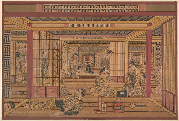 An Interior View in the Yoshiwara, Torii Kiyotada (Japanese, fl. ca. 1720–50), Polychrome woodblock print; ink and color on paper, Japan