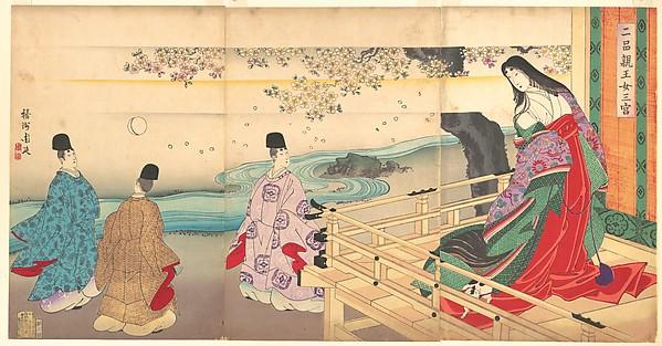 "The Third Princess and Kashiwagi, from Chapter 34, ""New Herbs I (Wakana I)"" (Nihon shinnō onna sannomiya), Yōshū (Hashimoto) Chikanobu (Japanese, 1838–1912), Triptych of polychrome woodblock prints; ink and color on paper, Japan"