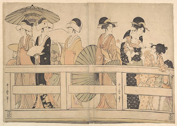Enjoying the Cool Evening Breeze on and under the Bridge, Kitagawa Utamaro (Japanese, ca. 1754–1806), Two sheets of a hexaptych of polychrome woodblock prints; ink and color on paper, Japan