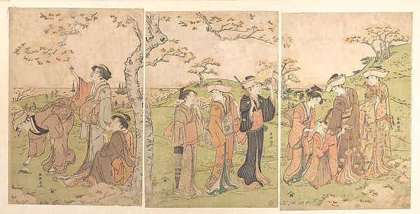 Women and Children Viewing the Cherry Blossoms at Gotenyama, Katsukawa Shunchō (Japanese, active ca. 1783–95), Triptych of polychrome woodblock prints; ink and color on paper, Japan