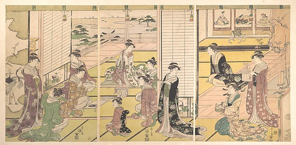 Honoring the Three Gods of Poetry: Women Composing Poems, Chōbunsai Eishi (Japanese, 1756–1829), Triptych of polychrome woodblock prints; ink and color on paper, Japan