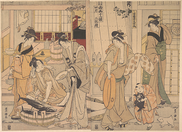 The Fourth Month, Utagawa Toyokuni I (Japanese, 1769–1825), Two sheets of a triptych of polychrome woodblock prints; ink and color on paper, Japan
