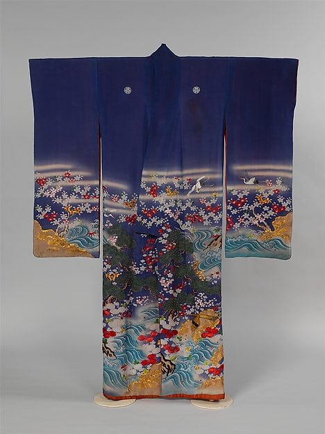 Kosode with a Paragon of Filial Piety, Resist-dyed, painted, and embroidered silk crepe, Japan