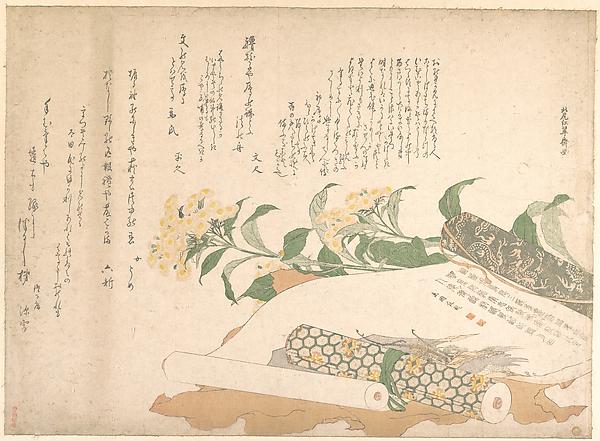 Daisies and Two Makimono, Kitao Shigemasa (Japanese, 1739–1820), Polychrome woodblock print (surimono); ink and color on paper, Japan