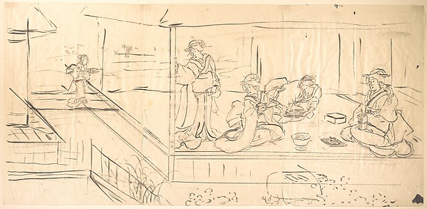 Print, Utagawa Kunisada (Japanese, 1786–1865), Preliminary sketch for drawing intended as design for woodblock print; ink on thin paper, Japan