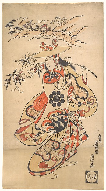 Actor Sawamura Kodenji as a Woman at the Time of the Tanabata Festival, Torii Kiyonobu (Japanese, 1664–1729), Polychrome woodblock print (sumizuri-e); ink and color on paper, Japan