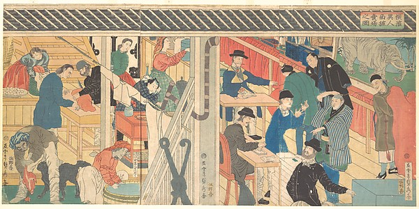 Sales Room at the Foreign Trade Building in Yokohama, Utagawa (Gountei) Sadahide (Japanese, 1807–1878/79), Triptych of polychrome woodblock prints; ink and color on paper, Japan
