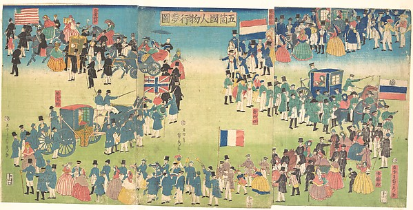 Procession of People from Five Countries: Holland, Russia, France, England and America, Utagawa (Gountei) Sadahide (Japanese, 1807–1878/79), Triptych of polychrome woodblock prints; ink and color on paper, Japan