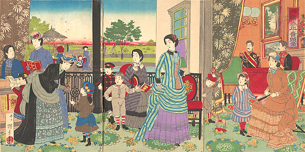 Illustration of the Emperor Enjoying a Moment of Peace with his Family (Kyōraku taihei kiken zu), Inoue Yasuji (Japanese, 1864–1889), Polychrome woodblock print; ink and color on paper, Japan