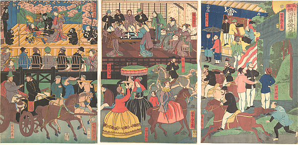 A View of the Amusements of the Foreigners in Yokohama, Bushu, Utagawa Yoshitora (Japanese, active ca. 1850–80), Triptych of polychrome woodblock prints; ink and color on paper, Japan