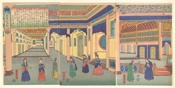Heidoru (St. Petersberg), Capital of Russia, from  the series Famous Places from All Nations (Bankoku meisho zukushi - Oroshiya miyako heidoru), Utagawa Yoshitora (Japanese, active ca. 1850–80), Triptych of polychrome woodblock prints; ink and color on paper, Japan
